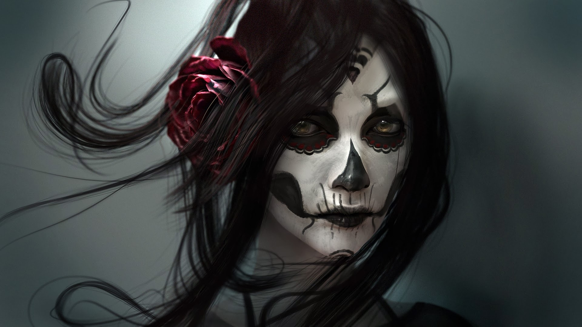 girl-beautiful-skull-face-tattoo-hd-wallpaper-1920x1080